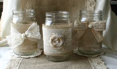 Upcycle a mason jar with a little burlap and a little lace for a country-chic votive candle