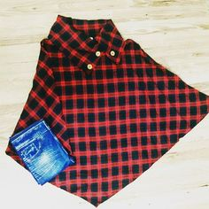 Plaid knit #poncho now in store- $35. Pm or comment with size and email to order now. #freeshipping #fall #plaid goldenonmain.com