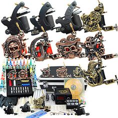 9 Guns Tattoo Kit with LCD Power and 40 Color Ink + Freeshipping Basic Tattoos, Great Tattoos, Beautiful Tattoos, Body Art Tattoos, Tattoo Ink, Professional Tattoo Kits, Tattoo Machine Kits, Tattoo Power Supply, Tattoo Equipment