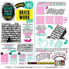 Today's tutorial is on how to draw BRICKS and BRICKWORK, for your game environments and background art :) If you want to know how to draw LOADS mor. Drawing Studies, Drawing Skills, Drawing Lessons, Art Studies, Drawing Tips, Drawing Reference, Painting & Drawing, Drawing Ideas, Drawing Tutorials
