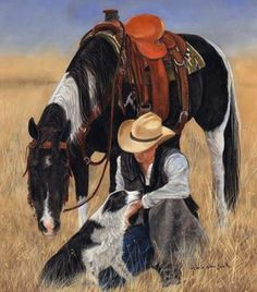 """God said, """"I need an animal that will be willing to work at the hands of a master, starting at the crack of dawn all day, in the hot and cold, rain and snow, all through the night, and all day, every day.""""  So God made the horse. Artist: Victoria Wilson-Schultz"""