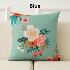 Flower pillow fresh pastoral style linen cushions for couch decor