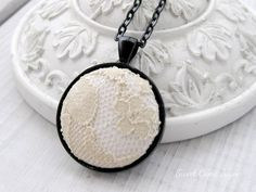 Lace Pendant Necklace Fabric Jewelry Black and by SweetCamiJayne