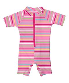 Look at this #zulilyfind! Pink Stripe Swim Sunsuit - Infant & Toddler by i play #zulilyfinds
