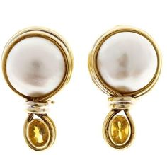 Vintage R Cipullo 18K Yellow and White Gold Mobe Pearl & Citrine Earrings