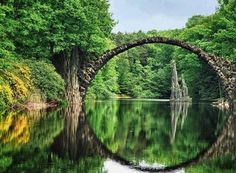 Devil's Bridge The impressive arch bridge was built around 1860. During its construction, other peculiar rock formations were built on the lake and in the park. Devil's Bridge is no longer open to the public to ensure its preservation. A unique feature of the bridge is that its reflection on the water's surface creates a flawless circle, regardless of which side is being viewed.