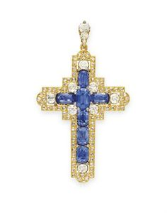 AN ANTIQUE SAPPHIRE, DIAMOND AND GOLD CROSS PENDANT Designed as a cushion-cut sapphire cross, set at the intersection and cardinal points with old mine-cut diamonds, within a gold and rose-cut diamond surround, suspended from a graduated old mine-cut diamond bail, mounted in gold, circa 1880