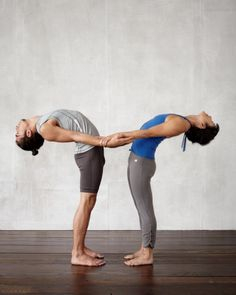 Back-Bending Foundation Benefits: Increases lung capacity, stretches the torso, and lifts the spirit. How to Do It: Stand facing each other, feet hip-width apart so that you can comfortably hold each other's forearms with your arms bent. Inhale and lift the chest, then exhale and drop head gently back, straightening arms. Hold the pose for 2 to 3 breaths. Inhale, and return to standing.