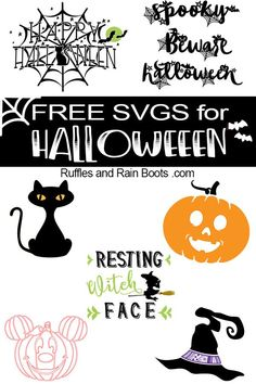 Get these free Halloween SVG and cut files. From sayings and quotes to adorable clipart, digital crafts were never easier. Halloween Fonts, Halloween Clipart, Halloween Quotes, Halloween Signs, Halloween Crafts, Halloween Phrases, Halloween Prop, Halloween Witches, Happy Halloween