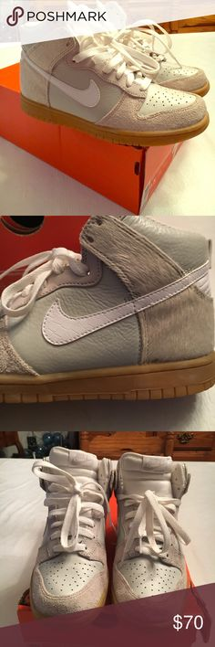 """Nike Dunk High Premium Suede, Leather & Snakeskin Nike Dunk High Premium #317892 011. Neutral grey/ white/light brown """"gums"""" (bottoms). Includes white and grey shoelaces. Nike check & back detail are white pattern leather; front suede; most light leather; back to upper front is like a calfskin material; inside is comfy padding. I bought these when I collected sneakers back in 2007-08. Great fashion piece with a 90s dress or athletic wear. Comes with original box (damaged from moving)…"""