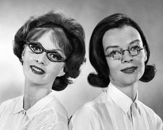"""""""Harlequin-shaped frames with metal trim are a 1961 choice of the young woman who must wear glasses,"""" according to a caption published - in the Tribune on Dec. 6 of that year. """"They're lots smarter than the steel framed half-glasses thrifty Ben Franklin designed."""""""