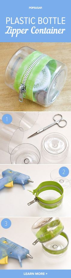 This fun DIY project comes together in no time with the help of a zipper and hot glue. Personalize the container with a cute zipper or use your favorite-colored plastic bottle for a unique look.