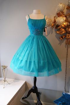 Early 60s nylon chiffon party dress. Cute!