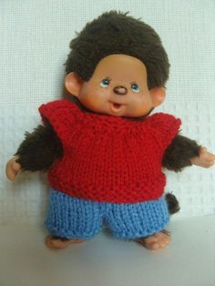 Pantalon et pull pour Kiki 13 cm des années 80 au tricot : Jeux, jouets par aux-fils-du-bocage