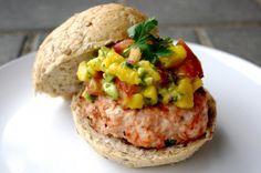 GF Tandoori Chicken Burgers with Fresh Mango Avocado Salsa by nutritionistinthekitchen: So easy! #Burger #Chicken #GF #Tandoori