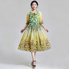 New Arrival 2015 Spring Summer Women Fashion Slim Leopard Floral Print Half Sleeve Chiffon Dress Female Casual Bohemian Dresses