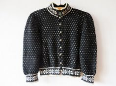 Black Bunad Cardigan Nordic New Wool Sweater by VintageDreamBox