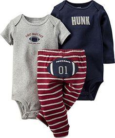 540132007 Carters Baby Boys 3-pc. Football Pick Bodysuit Set 12 Month Navy  blue/grey/burgundy