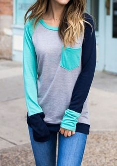 Price: [price_with_discount] Dokotoo Womens Casual Long Sleeve Crewneck Color Block Pocket Sweatshirt Blouse Tops Pattern: Patchwork, Color Block Neckline: Crewneck Sleeve Length: Long Sleev… Casual T Shirts, Tee Shirts, Long T Shirts, Casual Tops, Tees, Long Sleeve Shirts, Plaid And Leopard, Spring Shirts, T Shirts For Women