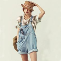 Women's cute denim overalls Korean style casual jumpsuits Loose pocket jeans shorts shipping
