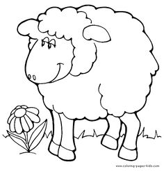 Sheep in the meadow with a flower color page. Animal coloring pages. Coloring pages for kids. Thousands of free printable coloring pages for kids! Farm Animal Coloring Pages, Coloring Sheets For Kids, Cute Coloring Pages, Coloring Pages To Print, Coloring Books, Colouring, Flower Pattern Drawing, Eid Crafts, Drawing Activities