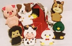 Barn and finger puppet animal busy bag tote bag with the cutest farm animails Set includes Barn busy bag with pocket on the back to carry animals Cow Horse Chicken Duck Pig Sheep Cat The tote is made