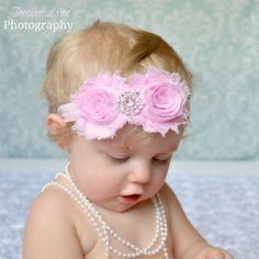 Shabby Flower Headband... Pink Headbands... Newborn Headbands. $12.00, via Etsy.