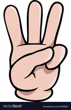 Human cartoon hand showing three fingers Vector Image Preschool Writing, Numbers Preschool, Preschool Learning Activities, Learning Numbers, Preschool Worksheets, Teaching Math, Kids Learning, Arabic Alphabet For Kids, Finger