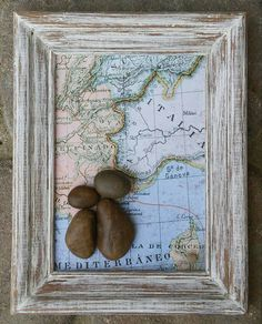 FREE SHIPPING Pebble couple visiting ITALY! Great Honeymoon/Anniversary gift ! The background is heavy-duty textured/raised bond paper. This piece is set in a layered open 5x7 SOLID wood frame, painted with acrylics and given a distressed look. Ready for display standing or hanging.