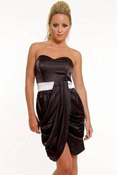 Shop Black Satin Short Mini Strapless Party Evening Club Dress UK Sizes 10 12 14 (UK Free delivery and returns on eligible orders. Dresses Uk, Formal Dresses, Black Satin Dress, Gq Fashion, Club Party Dresses, Satin Shorts, Girls Dream, Every Girl, Strapless Dress
