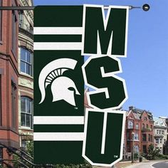 Michigan State Spartans 28'' x 44'' Cut-Out Applique One-Sided Banner Flag - Green/White