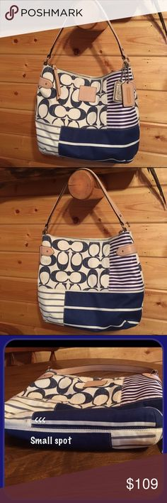 """Coach Daisy Patchwork Hobo Handbag F23963 Coach F23963 Hobo Handbag, Daisy patchwork fabric with leather trim, Inside zip, cell phone and multifunction pockets, Zip top closure, fabric lining, Handle with 7"""" drop,  13 3/4"""" (L) x 11"""" (H) x 4 3/4"""" (W) Small dirt spot on bottom ( see picture) Coach Bags Hobos"""