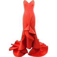 Oscar de la Renta strapless flared ruffled gown ($11,965) ❤ liked on Polyvore featuring dresses, gowns, red, silk dress, red dress, red gown, silk evening gowns and strapless gown