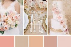 This peach and gold wedding colour palette combines shades of peach and monochromatic nude, and beige shades with rose gold and glittering gold.