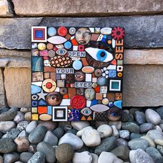 Open Your Eyes. (Contemporary Mixed Media Mosaic Wall Hanging Assemblage Art by Shawn DuBois) Indoor Orchids, Open Your Eyes, Contemporary Artwork, Assemblage Art, Mosaic Wall, Fused Glass, Stained Glass, Handmade Art, Color Mixing