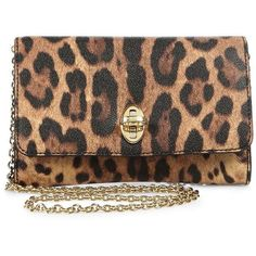 Dolce & Gabbana Taorima Animal-Print Clutch ($795) ❤ liked on Polyvore featuring bags, handbags, clutches, purses, bolsas, brown leopard, animal print handbag, leopard clutches, hand bags and chain purse