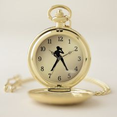 Soft Shoe / Tap Dancer with Black Numbers Gold Pocket Watch - gift for her idea diy special unique