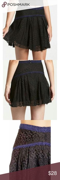 Free People Apple of my Eye lace mini skater skirt Pretty short skater skirt pairs navy and black lace. Sexy and flirty style. Dress up or down. Cotton/nylon/rayon blend. Free People Skirts Mini