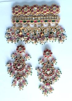 Vintage Antique 20K Gold jewelry Diamond Polki Ruby Pendant & Earring Pair India   Jewelry & Watches, Vintage & Antique Jewelry, Fine   eBay!