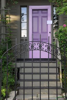Purple front door and screen door