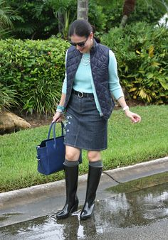 August 27, 2012  http://www.akeytothearmoire.com/post/30312480797/isaacs-path  #rainy look #rain boots #quilted gilet #Hunter #Hunter boots #Champery #Ralph Lauren #Ann Taylor #Turquoise #Jean pencil skirt #Navy #Navy blue #Black #Hunter wellies