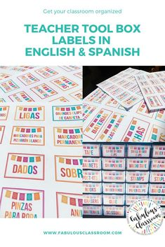 Teacher Tool Box Labels (English AND Spanish) Huge collection of labels for your teacher tool box! 2 sets of labels - 1 in English and 1 in Spanish. Make your classroom look fabulous while staying completely organized! Teacher Blogs, Teacher Hacks, Classroom Supplies, Classroom Decor, Spanish Teaching Resources, Homeschooling Resources, Washi, Tapas, Middle School Spanish