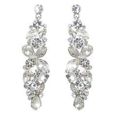 EVER FAITH Silver-Tone Bridal Tear Drop Flower Cluster Da...