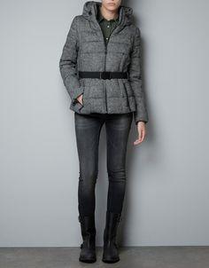 SHORT TWEED PUFFER JACKET - Coats - Woman - ZARA  $159