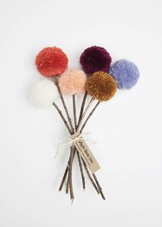 Yarn Pom Pom Flowers Fall Bouquet cream coral by stephlovesben Crafts For Kids To Make, Crafts To Sell, Kids Crafts, Diy And Crafts, Arts And Crafts, Pom Pom Crafts, Flower Crafts, Yarn Crafts, Pom Pom Flowers