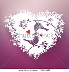 Two love birds are part of a beautiful, floral white paper cut ornament that creates a three-dimensional heart shape design element. Love concept. Vector EPS 10 illustration.