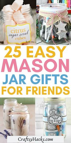 diy gifts for friends easy If you love mason jar crafts and youre looking for a perfect gift this holiday, make these diy mason jar gifts. Youll definitely have a lot of fun making these crafts and produce a nice diy gift for your friend or two. Diy Christmas Gifts For Boyfriend, Diy Gifts For Girlfriend, Diy Gifts For Friends, Xmas Gifts, Christmas Presents, Mason Jar Gifts, Mason Jar Diy, Gifts In Jars, Diy Crafts With Mason Jars