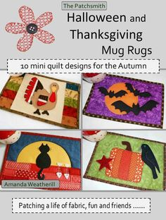 *** PDF PATTERN BOOKLET for IMMEDIATE DOWNLOAD *** Autumn is the season of warm, cosy colours and fun celebrations. Bring that season into your home quickly and easily with this collection of autumnal Halloween and Thanksgiving mug rug patterns. Within the pages of this book you will find ten mug rug designs themed around Halloween and Thanksgiving. (There are actually twelve designs as the Ghostly Duo and the Moonlit Cat come with an alternative design each. There is also a Primitive…