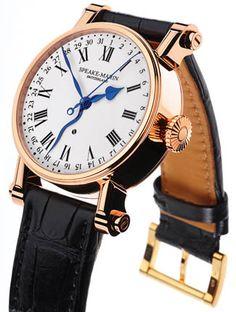 Speake-Marin timepiece watch black leather band, blue hands, gold tone case