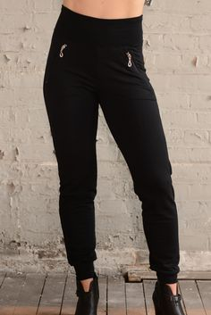 this jogger is so comfy, you will never want to take them off! sport the season's latest fashion in this slimming pant high waisted stretch waistband zip pockets with silver pull detail are angled to flatter cuffed hem Made in Canada from eco-friendly Bamboo stretch French Terry  pair with Bamboo tops and Bamboo Ruch or Moto Jacket  Made in Canada in sizes XS-22